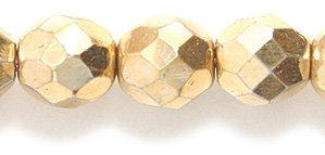 8mm Polished Glass Bead, Faceted Round, Full Gold Coating, 50-Pack ()