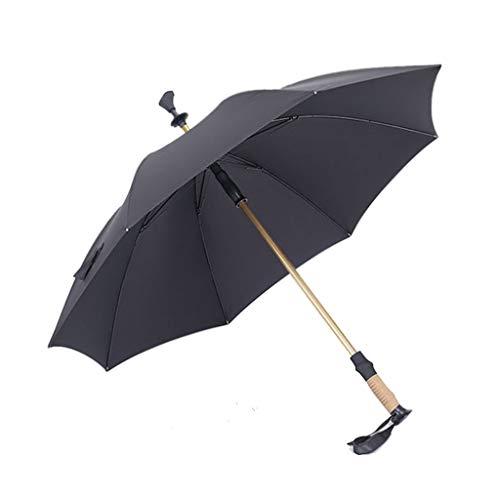(ZHAO YING Outdoor Trekking Pole Long Handle Umbrella Adjustable Mountaineering Equipment Double Umbrella (Color : Black))