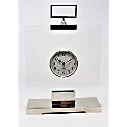 Global Views Luxury Modern Clear Acrylic Slab Table Clock | Floating Silver Midcentury Retro