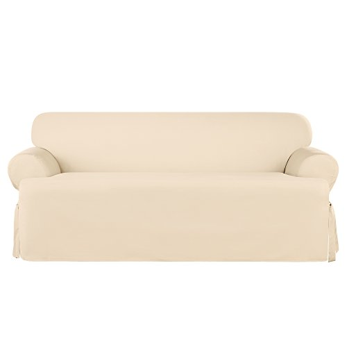 Sure Fit Heavyweight Cotton Duck One Piece T-Cushion Sofa Slipcover - Natural (SF41862)