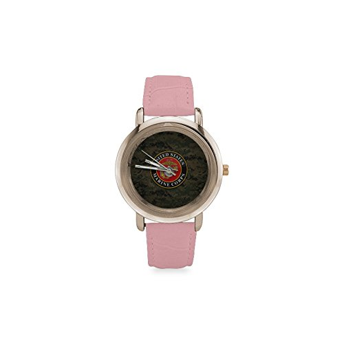 United States Marine Corps Pattern Women's Rose Gold Leather Strap Watch by Unknown