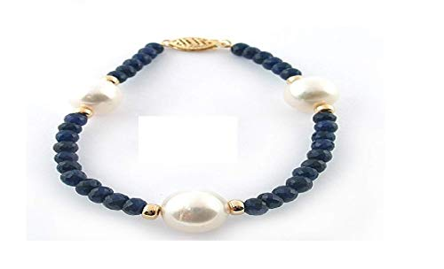 La Regis Jewelry 14k Yellow Gold Pearl Cultured White Freshwater 9-9.5mm and 4-4.5mm Blue Sapphire Simulated Bracelet 7.25
