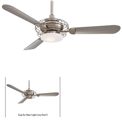 - Minka-Aire F601-BS/BN Downrod Mount, 3 Silver / Pewter Blades Ceiling fan with 69 watts light, Brushed Nickel