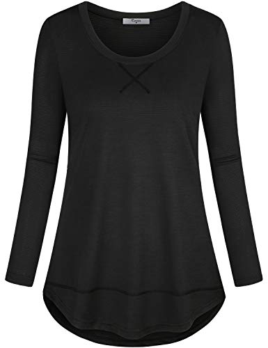 Cestyle Yoga Tops for Women Loose Fit, Juniors Long Sleeve Performance T-Shirt Moisture Wicking Fashionable Relaxed Fit Tunic Shirts for Leggings Black Fashion M