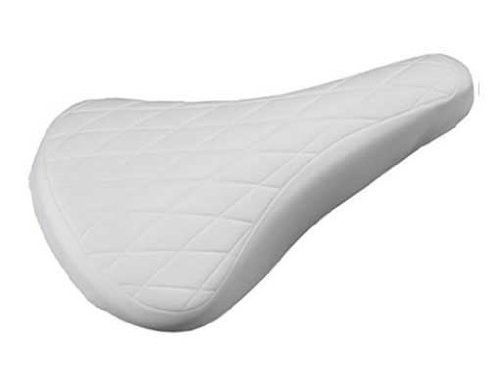 Vinyl Diamond Pattern BMX Bike Saddle, 10-1/4in L x 6in W, White