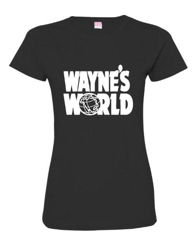 Medium Black Womens Wayne''s World Logo Deluxe Soft T-Shirt