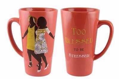 American African Mug (Black Art TOO BLESSED LATTE MUG LMUG02 Friendship Religious)