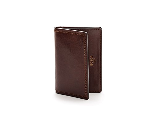 Bosca Mens Dolce Collection - Full Gusset Two-Pocket Card Case w/I.D. (Dark Brown)