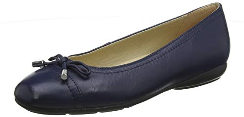 - Geox Women's ANNYTAH 9 Nappa Leather Ballet Flat with Arch Support and Cushioning Blue, 38 Medium EU (8 US)