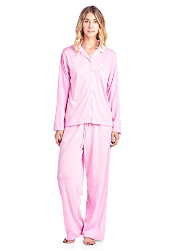 (Casual Nights Women's Long Sleeve Floral Button Down Pajama Set - Pink Sparkle - XX-Large)