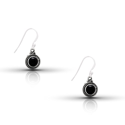 Koral Jewelry Black Onyx Round Stone Hook Dangle Earrings Sterling Silver 925 Gipsy Boho Chic Ethnic Vintage Look