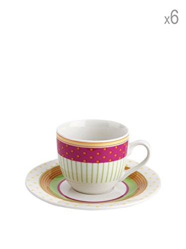 (Tognana 85 cc 6-Piece Pearl Marbella Coffee Cup and Saucer Set, White)