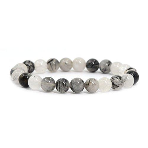 Natural Black Tourmaline Rutilated Quartz Gemstone 8mm Round Beads Stretch Bracelet 7