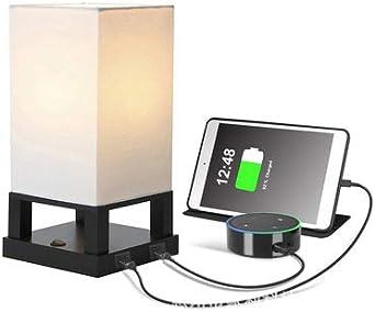 Mesita de noche y lámpara de mesa USB 1/2 Interfaz de carga USB y ...