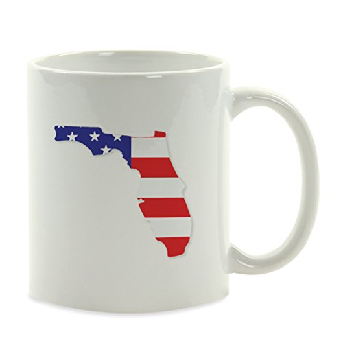 Andaz Press 11oz. US State Coffee Mug Gift, United States Country Flag, Florida, 1-Pack, Patriotic Presidential Election Veterans Day Fourth of July Party Decorations Birthday Christmas Gift Ideas ()