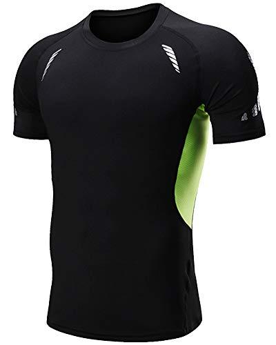 Shengwan Séchage shirt Sport À T Rapide Haut Vert Homme Maillot De Noir Layer Base Compression Courtes Manches fPrSxnf7z