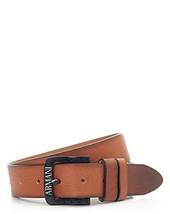 fb6a6943b346 Armani Jeans hommes BOUCLE LOGO foncé ceinture en cuir marron - Marron, L    95