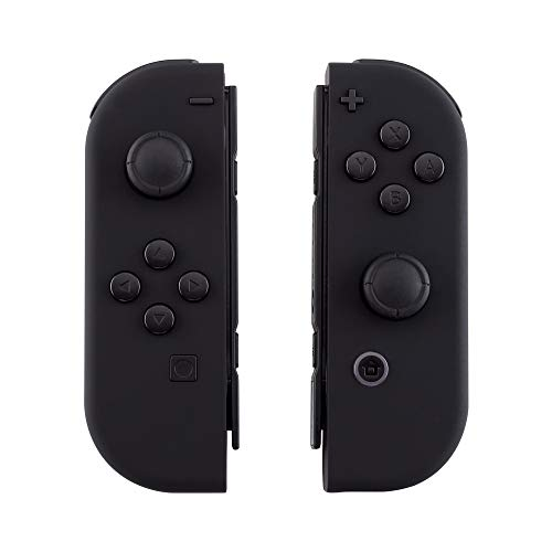 eXtremeRate Soft Touch Grip Black Joycon Handheld Controller Housing Shell with Full Set Buttons, DIY Replacement Shell Cover for Nintendo Switch Joy-Con - Console Shell NOT -