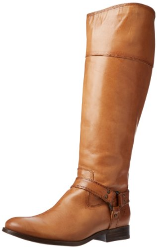 FRYE Women's Melissa Harness InSide-Zip Boot, Camel Smooth Vintage Leather Wide Calf, 6.5 M US (Riding A Camel)