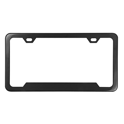 Grand General 60411 Black Semi-Gloss Powder Coated License Plate Frame with 2 Holes and Bottom Center Raised (Powder Coated Semi Gloss)