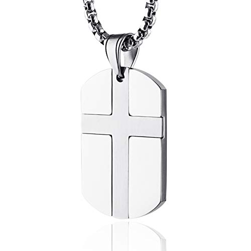 HZMAN Isaiah 41:10 Jewelry, Stainless Steel Cross Dog Tag Necklace Strength Bible Verse (Silver)