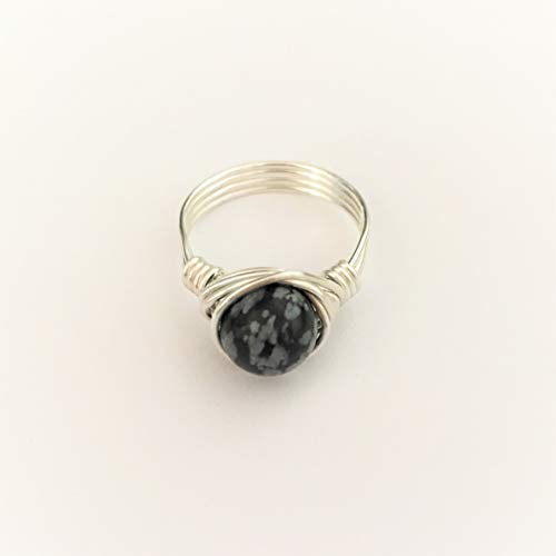 Snowflake Obsidian Gemstone Silver Wire Wrap Ring