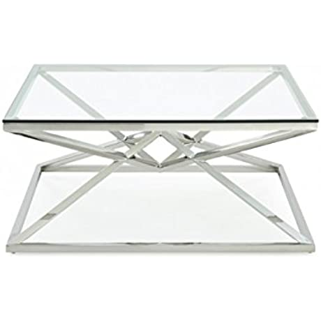 Limari Home The Nev Collection Modern Stainless Steel Metal Pyramid Base 10MM Translucent Tempered Glass Square Living Room Coffee Table Metallic