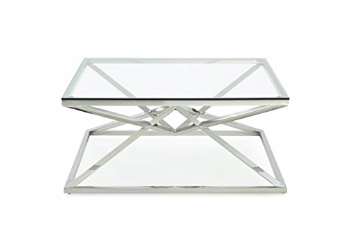 Limari Home The Nev Collection Modern Stainless Steel Metal Pyramid Base & 10MM Translucent Tempered Glass Square Living Room Coffee Table, Metallic