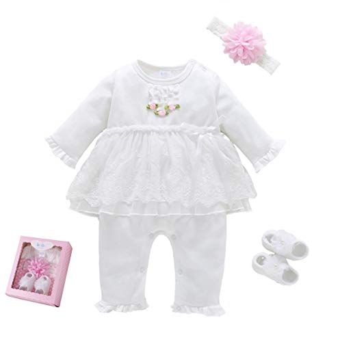 (Baby Brielle Layette Onesie with Matching Headband and Socks in Box Registry Must Haves Gift Set for Girls (Pink Lace, 3M))