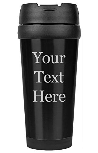 (Customized 3D Laser Engraved Personalized Stainless Steel Custom Travel Mug without Handle (Black))