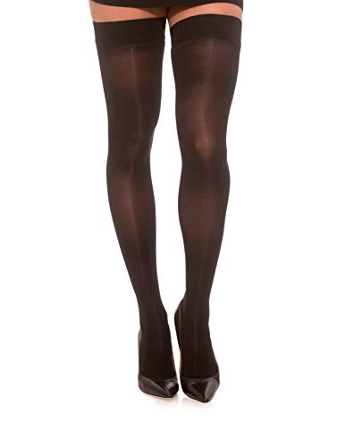 Jomi Compression Thigh High Stockings Collection, 20-30mmHg Sheer Closed Toe 245 (Large, Black)