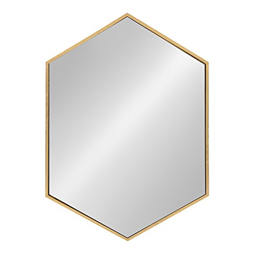 - Kate and Laurel McNeer Hexagon Metal Frame Wall Mirror with Gold Finish for Bathrooms, Entryways, Bedrooms, and More, 31x22-inches