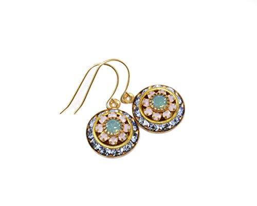- Vintage Swarovski Crystal Flower Earrings - Pale Blue, Pink and Mint Green