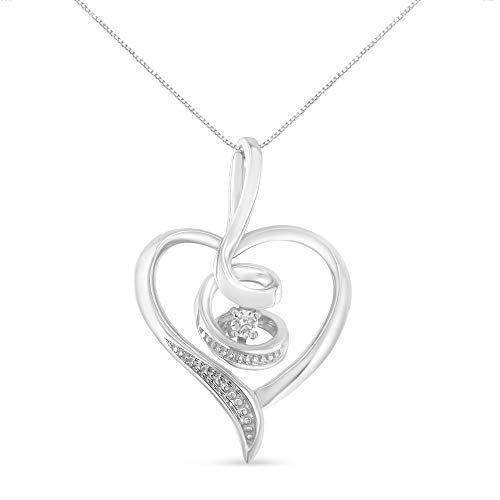 Espira 10K White Gold Round Cut Diamond Swirl Heart Pendant Necklace (0.03 cttw, J-K Color, I2-I3 Clarity)
