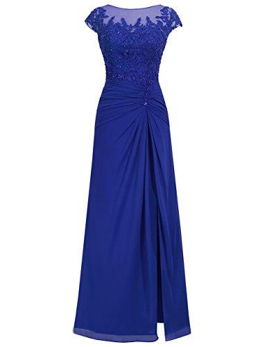 Chiffon Festkleider Königsblau Spitze Abendkleider Damen Hochzeitskleider Lang Ballkleider 0qtFH