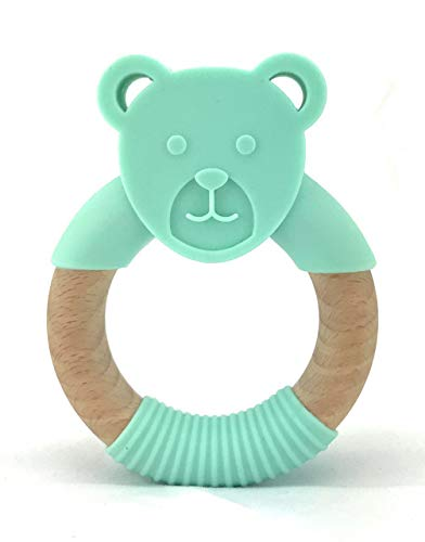 Oso Infantactical Organic Natural Beech Wood & Bear Silicone Teething Ring | 100% BPA Free Silicone Wood Teether | Teething Pain Relief Toy