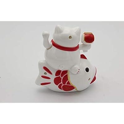 YIWU Japanese Lucky Maneki Neko Waving Paw Hand Catching Fish Cat Battery Operated 4