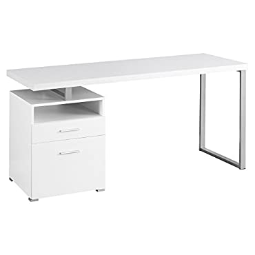 Monarch Specialties 60 Computer Desk with Filing Drawer, White (MS-VM7144)