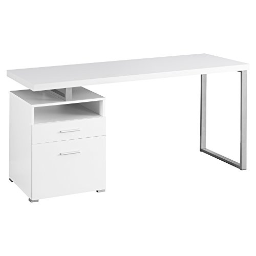 Monarch Metal Computer Desk, White/Silver, 60