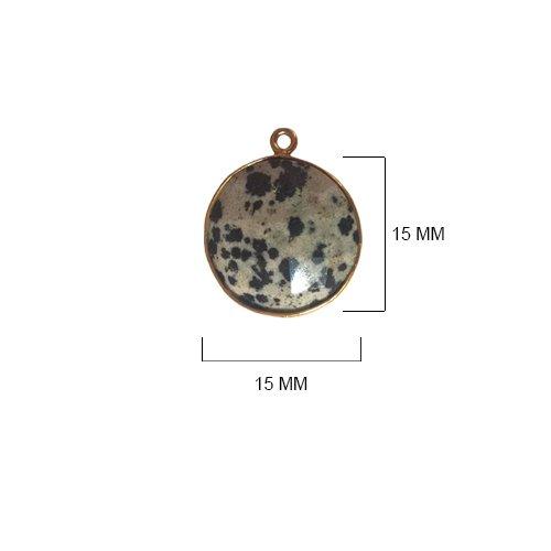 Dalmatian Jasper Beads 15MM - BESTINBEADS - Dalmatian Jasper Stone - Dalmatian Jasper Coin 15MM Gold Bezel Single Loop - Bezel Connectors - Bezel Pendant - Dalmatian Jasper Pendant - (Jasper Coin Pendant Beads)