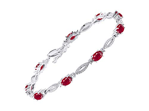 Stunning Ruby & Diamond Tennis Bracelet Set in Sterling Silver - Adjustable to fit 7