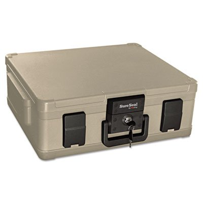 Fire and Waterproof Chest, 0.38 ft3, 19-9/10w x 17d x 7-3/10h, Taupe, Sold as 1 Each