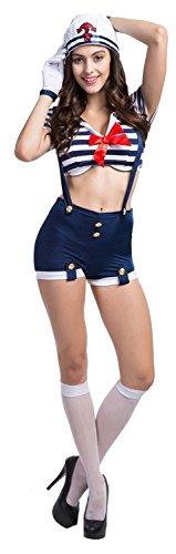 Laolaooo Design Nautical Doll Pin-Up Sailor Sea Captain Costume Anchors Away Suspenders Blue28/30 Plus Hot (Plus Size Anchors Away Sailor Costume)