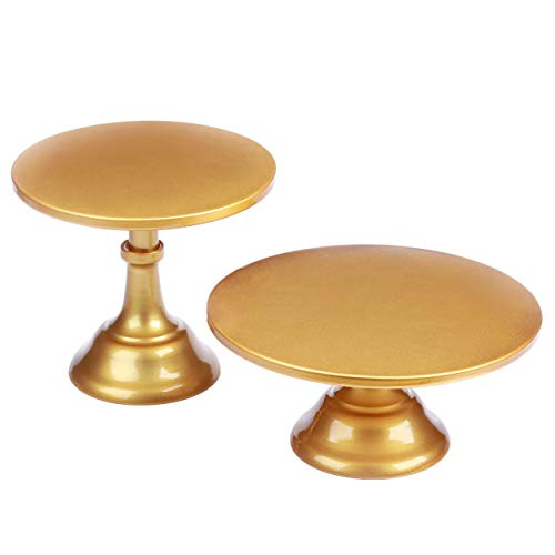VILAVITA 2-Set Modern Cake Stands Round Cake Stand Cupcake Stands for Baby Shower, Wedding Birthday Party Celebration, Gold -