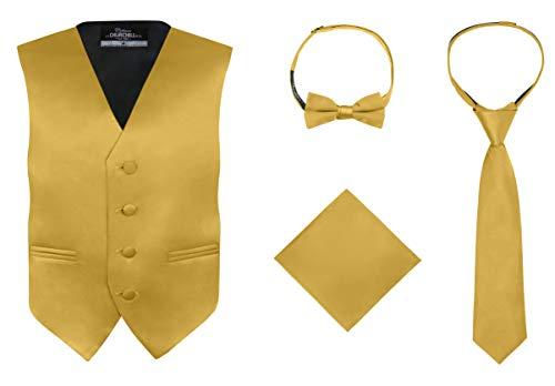 S.H. Churchill & Co. Boy's 4 Piece Vest Set, with Bow Tie, Neck Tie & Pocket Hankie, Gold Size 7 ()