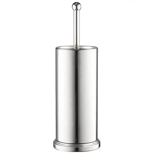 toilet brush set chrome storage solution holder with lid bowl cleaner home decor ebay. Black Bedroom Furniture Sets. Home Design Ideas
