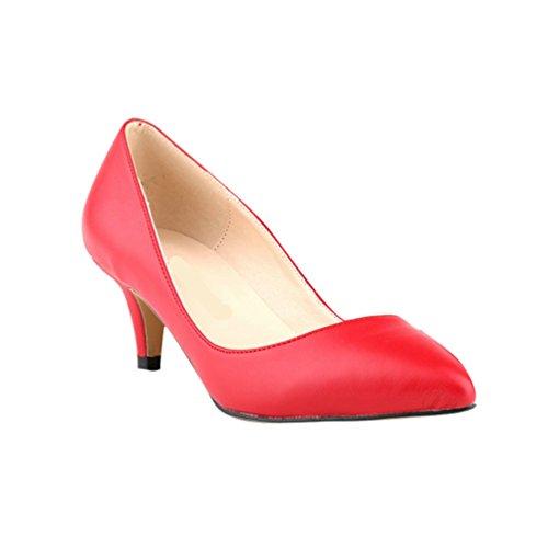 tacón Zapatos WanYang Toe Tacón Vestir Rojo bajo de Clasico Mujer Moda Pointed aguja de Trabajo xwx0TzZq