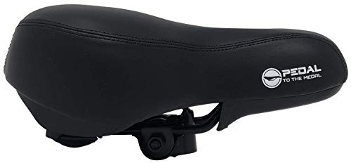 Pedal To The Medal Bike Seat – Most Comfortable Bicycle Seat for Women -Comfort Stationary Bike Seat Cushion, Spin Bike, Road Bike, or Mountain Bike Saddle – Water and Dust Resistant Cover (Black)