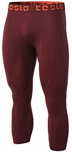 TSLA TM-MUC18-BCK_Large Mens Compression 3/4 Capri Shorts Baselayer Cool Dry Sports Tights MUC18