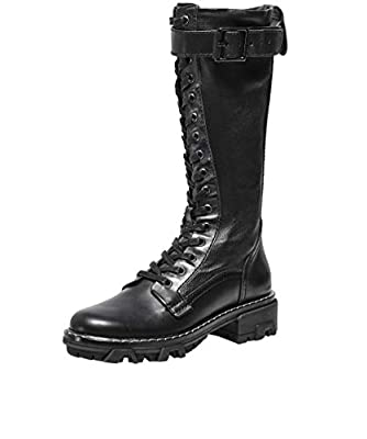 Rag and Bone Women's Shiloh Tall Leather Combat Boots Black